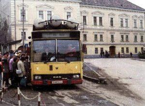 Autobuz Roman, pe motorină şi gaz, pe străzile din Odorheiul Secuiesc, la finele anilor '80